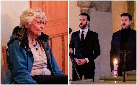 INNSPILLING: 85 år gamle Synnøve Haugersveen ble invitert  som hedersgjest til juleinnspillingen i kirka. Hele prosjektet ble initiert av et stort Eidanger-team, mens Emil og Didrik Solli-Tangen sto for den musikalske biten.