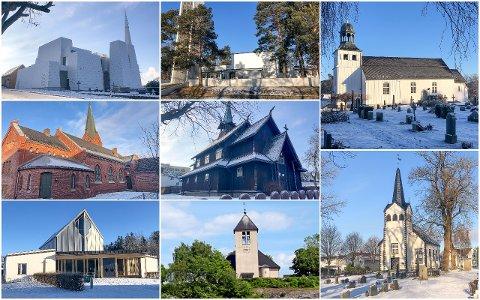 FRA ØVERST TIL VENSTRE: Østre Porsgrunn kirke, Herøya kirke, Metodistkirken i Porsgrunn, Vår Frue kirke, Stridsklev kirke, Brevik kirke, Eidanger kirke og Vestre Porsgrunn kirke.