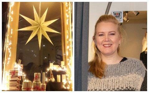 VANT IGJEN: Veronica Strand på Velverehuset Hud By Strand, er for andre året på rad kåret til byens beste julevindu av Næringsforeningen.