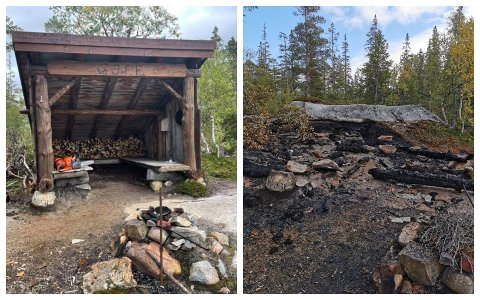 FØR OG ETTER: Bildet til venstre er tatt av Bjørn Ivar Lamo på søndag. Til høyre er et bilde som Kine Bentseng tok på samme sted torsdag. Spørsmålet er hvordan gapahuken ble forvandlet til en brannruin.
