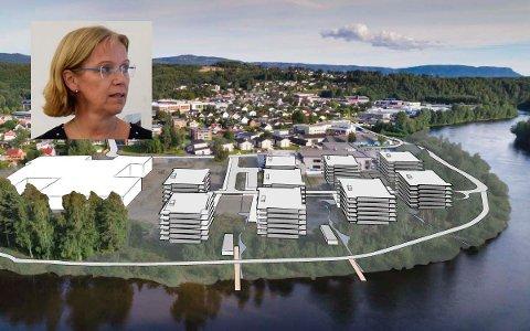 VEINAVN: Utviklingsdirektør Ellen Grønlund og Tronrud Eiendom mener at Elveparken bør være veinavnet, subsidiært Benterudstranda.