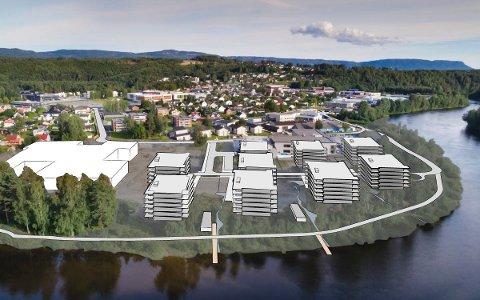 VED SKOLEN: Ved den nye skolen på Benterud (til venstre) skal hele ni boligblokker bygges. Haakon Tronrud vil begynne med blokkene nærmest skolen for å unngå ulemper for elever og ansatte.