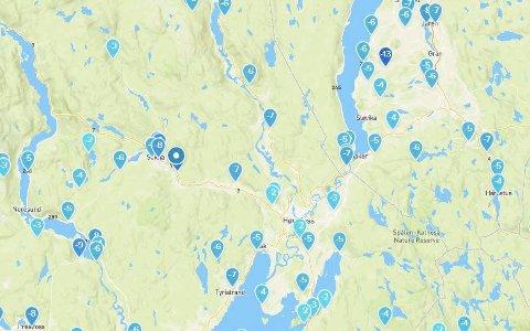 Kulde: Oversikten over temperaturene for området vårt klokken 09.10 mandag morgen.