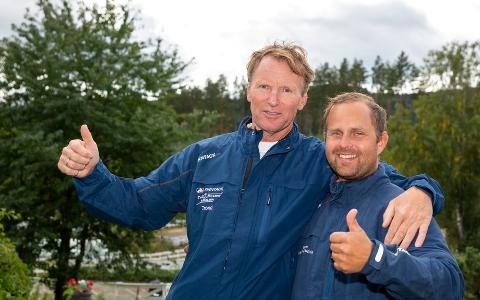 """KAN JUBLE: Trond """"Buller'n"""" Anderssen og Kristian Malmin kunne juble etter at Ådalshesten Hickothepooh tok sin største triumf noensinne søndag."""