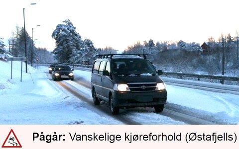 VANSKELIGE KJØREFORHOLD: Meteorologisk institutt advarer mot det som kan bli vanskelige kjøreforhold på Romerike i kveld og i morgen.