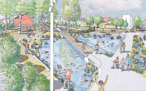 VANN OG AKTIVITETER: Det planlagte parkområdet langs Skårersletta skal både skape aktivitet og håndtere overvann. Ill.: Bjørbekk og Lindheim AS