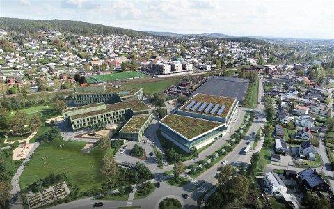 ØNSKER KOSTNADSKUTT: Kommunedirektøren vil droppe det grønne taket på det nye skole- og idrettsanlegget på Fjellhamar for å spare 11 millioner kroner. Illustrasjon: Arkitektkontoret GASA AS/Brick Visuals