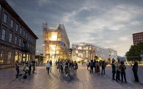 SKISSE: Slik kan det se ut om NRKs hovedkvarter flyttes til Lillestrøm. Foto: Lillestrøm kommune