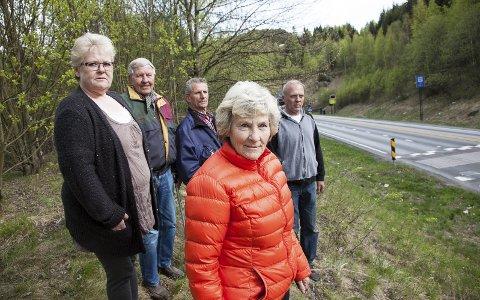 LEI: Iris Lindberg (t.v.), Erling Jensen, Per Meissner, Morten Aanerud og Randi Meissner bor bare få meter fra tunnelløpet, og fikk sjokk når de fikk all røyken ned til seg under lastebilbrannen for en drøy uke siden.