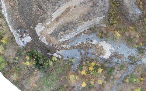 FRA OMRÅDET: Dette bildet er tatt fra luften over området hvor rasene skjedde.