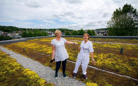 SPESIELLE OMGIVELSER: Gunn-Heidi Schröder (t.v.) og Kjersti Hisdal gleder seg over det spesielle taket på utsiden av avdelingene deres.
