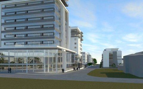 SIGNALBYGG: Med dette 12 etasjer høye kokntorbygget mot jernbanen ønsker Inter Eiendom å trekke små og store virksomheter, også offentlige, til Sandefjord. Reguleringsplanen vil foreligge mot slutten av 2019. (Illustrasjon: PV Arkitekter)