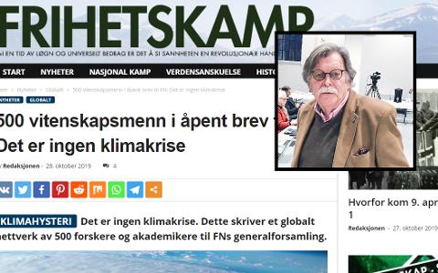 DELTE SAK FRA NAZISIDE: Stig Hatlo (Frp) delte en klimasak fra et nazistisk nettsted. Nå har han slettet innlegget.