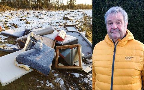 SØPPEL: Gunnar Jensen (bildet) er oppgitt over at noen har forsøplet skogsområdet han stadig besøker for å gå tur.