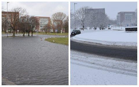 LITT FUKTIG: Rundt Hvalfangstmonumentet var det tegn til fuktighet torsdag 18. februar. Bildet til venstre er fra samme uka i fjor. FOTO: Vibeke Bjerkaas/Ralf Haga