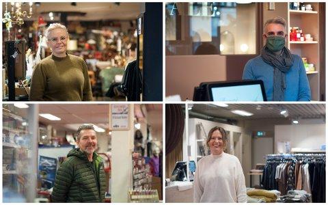 Butikkene i Langgata hadde et godt 2020 og flere opplevde god vekst i omsetningen. Fra venstre: Hilde Gunn Aarskog Sagland hos Velvet, Karsten Nordvik hos Beauté Fatale, Jone Sæland hos Sæland Hobby og Anette Storhaug hos Sans Mote.