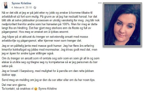 MODIG: Synne Kristine Mellum (29) fra Brevik delte nylig en åpen jobbsøknad på Facebook.