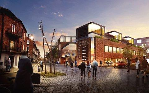 To nye etasje: I det opprinnelige forslaget var det tegnet inn leiligheter over to etasjer ut mot Jernbanegaten oppå bankbygget. LOF arkitekter, arkiv