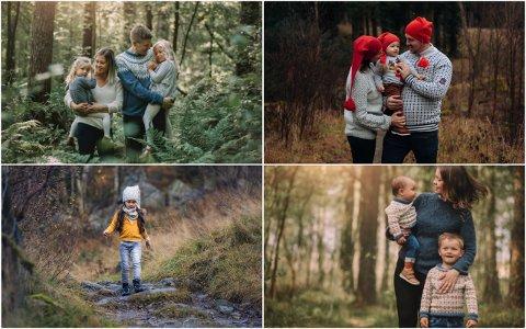 Familiebilder i skogen er populære som julekortbilder. De lokale fotografene merker stor pågang på høsten.