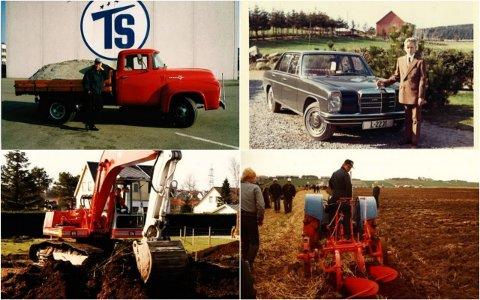 Det startet med en interesse for traktorer og Trygve Stangeland (øverst til venstre) la stein for stein. Siden har både sønnen (de andre bildene) Olav og barnebarnet Tommy overtatt driften. Enmannsbedriften har nå blitt til tusen mann og en milliardbedrift.