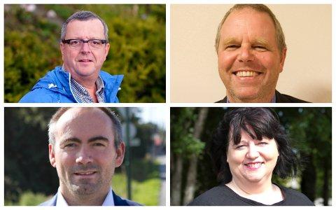 UENIGE: Mens Høyre-politikerne Tor Inge Soma (øverst t.v), Rune Sørsdal og Frp-politiker Tom Henning Slethei (nederst t.v.) mener forslaget til statsbudsjettet er bra, er Ap-politiker Siv-Len Strandskog helt uenig.