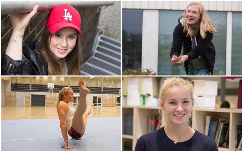 Sanger og låtskriver Malene Wetteland (øverst t.v.), volleyballspiller Maria Halsne Dahl, turner Jenny Rygh (nederst t.v.) og stuper Helle Tuxen er noen av de som får stipend fra Sola kommune.
