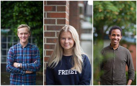 Dette er de aller yngste i kommunestyret: Joachim Sola (18) fra Folkeaksjonen Nei til Mer Bompenger, Hanne Randulff Stein (19) fra Høyre og Hamza Ali (19) fra Arbeiderpartiet.