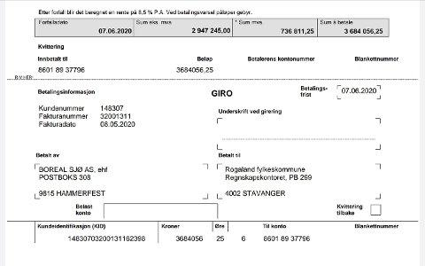 FAKTURA: Denne fakturaen ventar Rogaland fylkeskommune framleis på betaling for. Boreal opplyser at dei skal betala denne så fort som muleg.