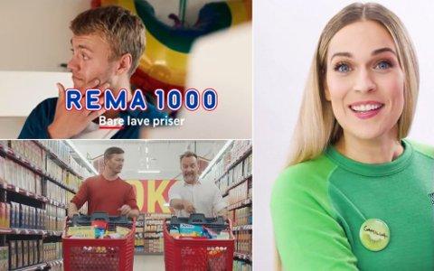 SAMME BUDSKAP: Rema har bare lave priser, Kiwi gir seg aldri på pris, mens Extra har ekstra lave priser. Stor variasjon er det ikke. Foto: Rema/Extra/Kiwi