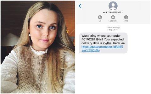 BLE LURT: Ingerid Bernhoft (22) ble lurt til å klikke seg inn på en lenke om en pakke hun angivelig skulle ha bestilt. Nå vil hun advare andre.