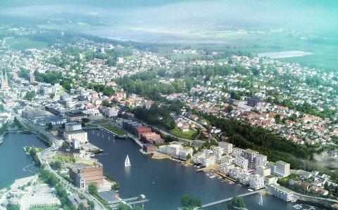 PLAN: Det er lagt store planer for Skien Brygge. Ikke alle politikere er like begeistret.