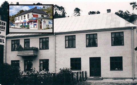 GAMMELT: Gamle Notodden Andersen Blikkenslagerverksted i Heddalsvegen - med Andersenkiosken idag innfelt. Kjøperen Roar Bjorheim Kåsa vil tilbakeføre bygget til sin opprinnelige stil.