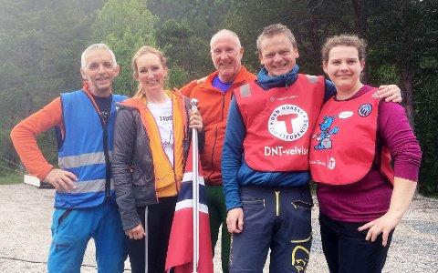 Håvard Johansen, Kristin Schrøder, Birger Blomvik, Harald Oppdeal, Anja Krumrei i Turistforeningen takker alle de frivillige som var med å arrangere 7-Fjell Frei sist helg.