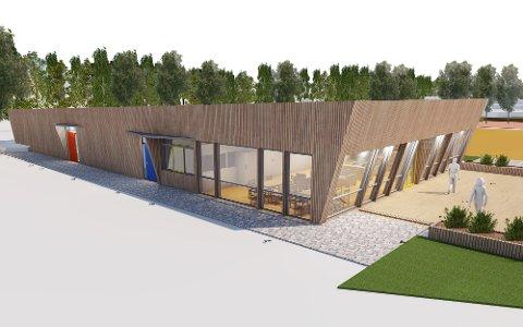 MODERNE: Illustrasjonen viser hvordan det nye klubbhuset kan bli seende ut. (Illustrasjon: Spir Arkitekter AS)