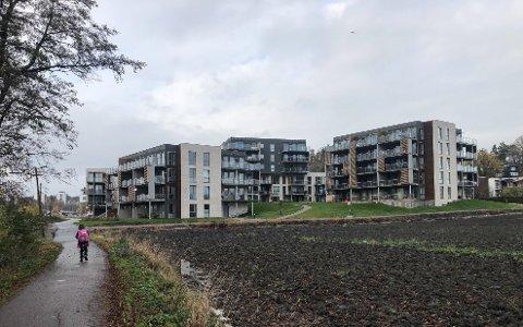 JEVNT OG TRUTT: - Vi selger boliger jevnt og trutt, sier eiendomsmegler Edvard Konttorp-Berg. Gang- og sykkelveien til venstre brukes av mange, til venstre er planen at det skal komme flere boliger.