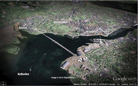 Lavbro mellom Kaldnes og Korten med vippe muligheter for gjennomgang for båttrafikken.