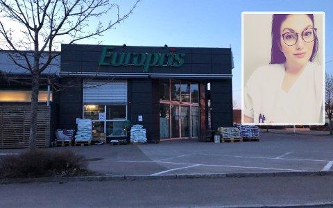 MELDRE FRA: Ida Emilie Bjørkli Kjær reagerte på at Europris hadde satt frem engangshansker til kundene, selv om dette frarådes av FHI.