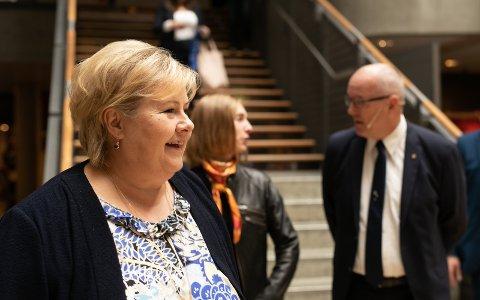 –Ingen må bli overrasket om statsminister Erna Solberg vil dukke opp hyppig i Trondheim i året frem til valget, skriver Johan Giertsen fra Poll of polls. Her på regjeringens teknologitoppmøte på Gløshaugen i 2018.