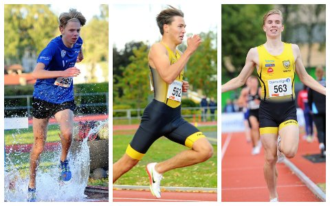 GULLGUTTER: Ole Daniel Prigge (f.v.) fra Nybrott og Steinkjer-duoen Bastian Aurstad Elnan og Mathias Vanem Aas startet alle UM-helga med gullmedalje fredag.