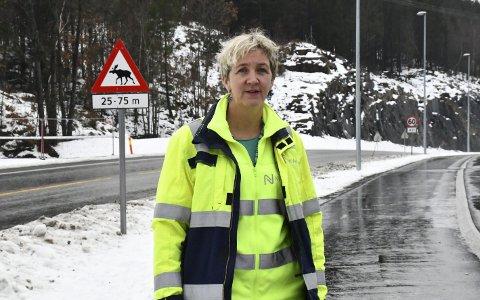 Vurderer mange muligheter: Utbyggingssjef Tordis Vandeskog ved fylkesveien mellom Grensøl og Bergsmyr, der det ene elgtråkket går. Bak til venstre ses det midlertidige gjerdet som er satt opp her.
