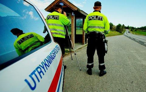 FREDRIKSTAD  20120620. Utrykningspolitiet (UP) holder kontroll på riksvei 116 ved Onsøy onsdag. Foto: Stian Lysberg Solum / NTB