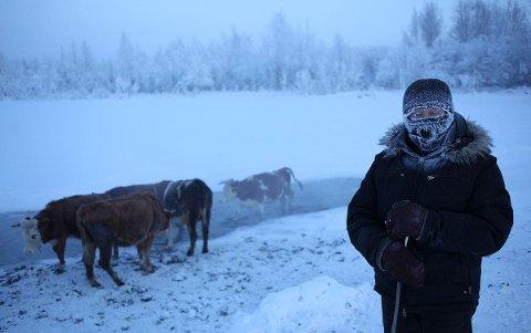 GRISEKALDT: I Ojmjakon i Russland fryser spyttet til is før det treffer bakken.