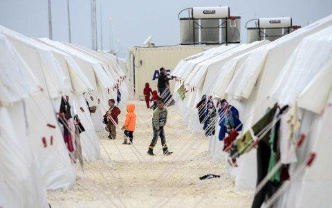 FLYKTNINGLEIR: Syriske flyktninger i en FN-leir i Suruc, sør i Tyrkia, ikke langt fra grensen til Syria.   Foto: Bulent Kilic AFP / NTB scanpix