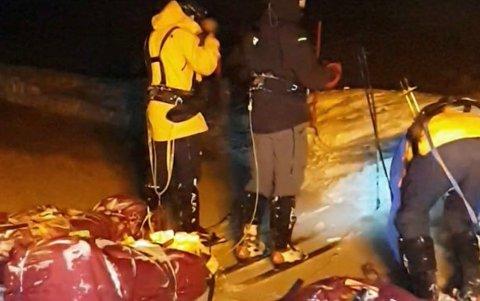 De tre franske vinterturistene hadde flaks. De ble ikke tatt av ras, og de berget seg over Magerøysundet, selv om kajakken var lekk. Tilslutt ble de berget av brøytemannskapene.