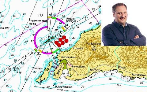 De røde feltene viser hvor Norcod har søkt om på lokalitet for de seks torskemerder ved Åmøya i Meløy kommune. Innfelt: Produksjonsdirektør Rune Eriksen, Norcod.