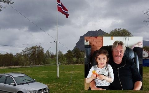 Arne Reidar Pedersen og Ann-Marita Pedersen planlegger å åpne campingplass på familieeiendommen på Bø på Engeløya i Steigen. Her er han sammen med en av deres barnebarn i en annen anledning.