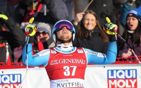 Bjørnar Neteland kunne juble for europacupsuksess i storslalåm torsdag. Her er han fra et verdenscuprenn på Kvitfjell i 2017. (Foto: Geir Olsen / NTB scanpix)