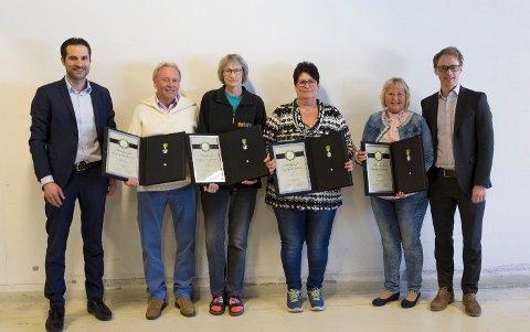 MEDALJE: Daglig leder i BeSafe Per Robert Robertson (t.v.), Frank Lilleheil, Reidun Solli, Toril Moen, Anne Karin Odden og konsernsjef Kristian Torgersen.