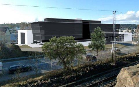 Slik ser forslagstiller for seg at nytt kontor- og administrasjonsbygg i 7 plan kan se ut, sett fra boligene som ligger over jernbanen vest for området. Til høyre i bildet vises eksisterende show-room. Helt til venstre i bildet er flisbutikken i Mosseveien 51.
