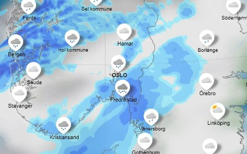 Torsdagsregn: Kartet viser værsituasjonen ved 10-tiden torsdag formiddag, altså Kristi himmelfartsdag.